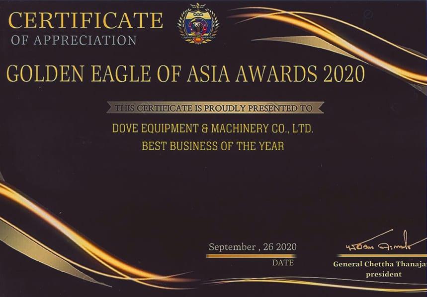 DOVE Equipment Best Business 2020 Award